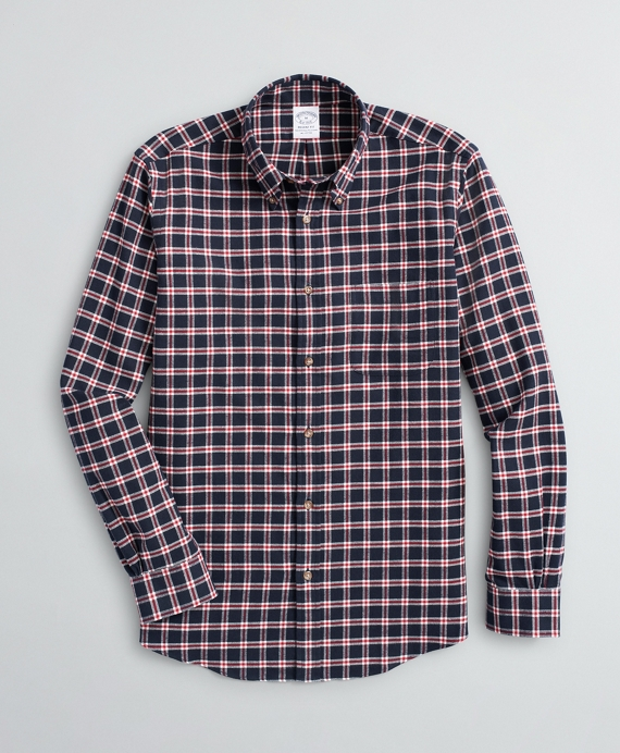 Regent Regular-Fit Sport Shirt, Windowpane Flannel Navy
