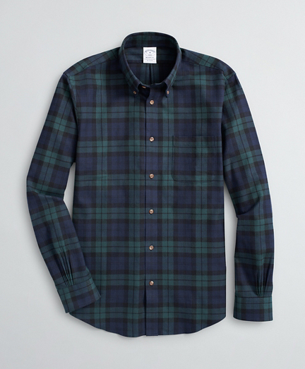 Brooksbrothers Regent Fit Sport Shirt, Black Watch Tartan Cotton Flannel