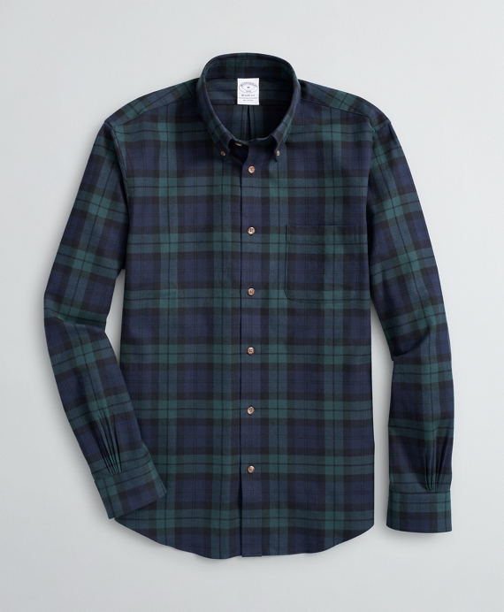 Regent Fit Sport Shirt, Black Watch Tartan Cotton Flannel Navy-Green