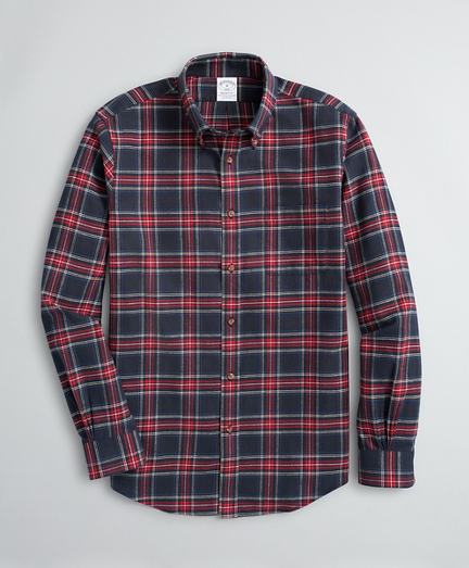 Brooksbrothers Regent Fit Sport Shirt, Plaid Cotton Flannel