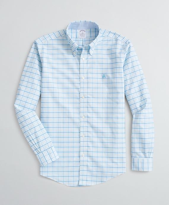 Stretch Regent Fit Sport Shirt, Non-Iron Checked Oxford Aqua