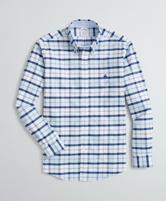 Stretch Regent Fit Sport Shirt, Non-Iron Plaid Oxford Aqua