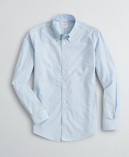 Brooksbrothers Stretch Regent Fit Sport Shirt, Non-Iron Mini Gingham Oxford