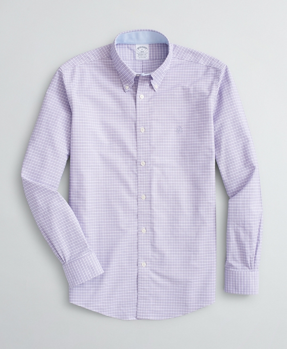 Stretch Regent Regular-Fit Sport Shirt, Non-Iron Mini Gingham Oxford Light Purple