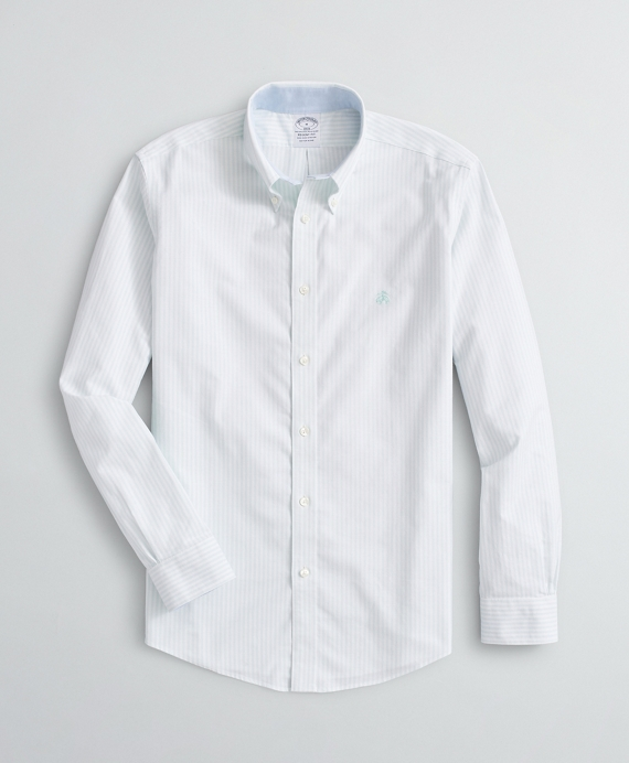 Stretch Regent Regular-Fit Sport Shirt, Non-Iron Bengal Stripe Oxford Aqua