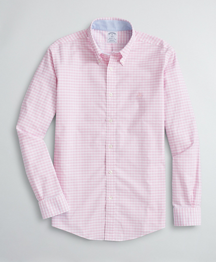 Brooksbrothers Stretch Regent Fit Sport Shirt, Non-Iron Gingham Oxford