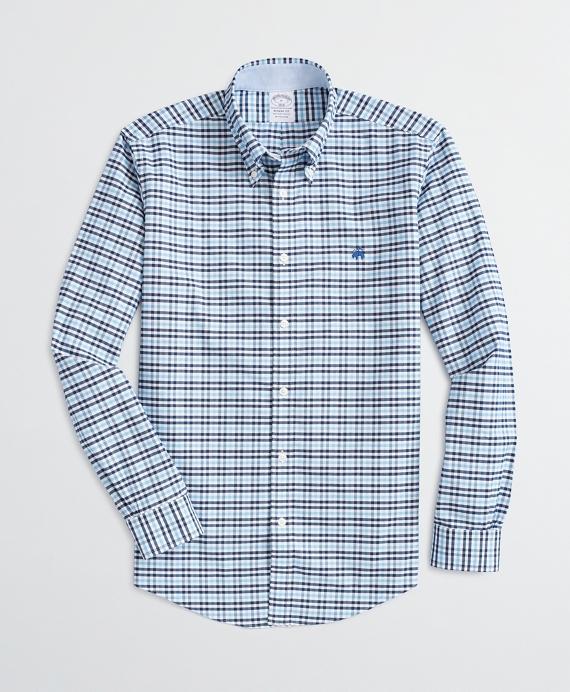 Stretch Regent Regular-Fit Sport Shirt, Non-Iron Checked Oxford Blue