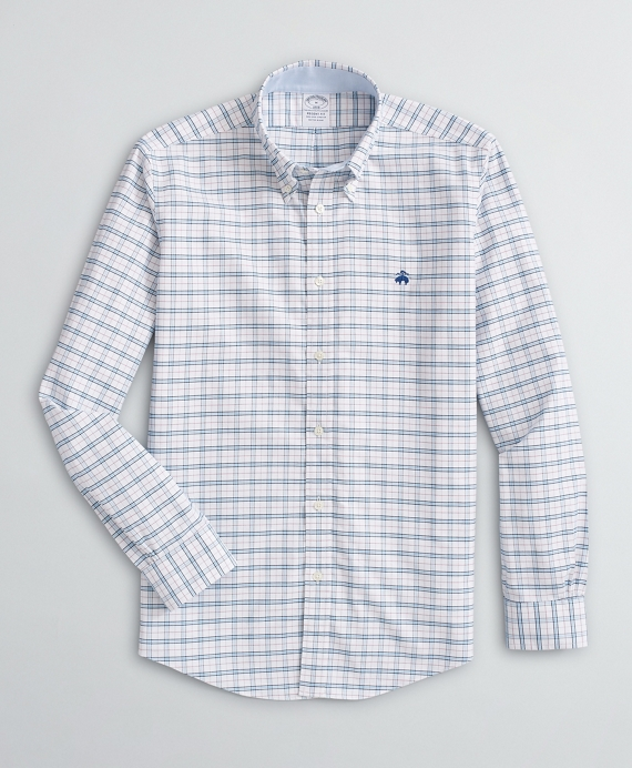 Stretch Regent Fit Sport Shirt, Non-Iron Checked Oxford White