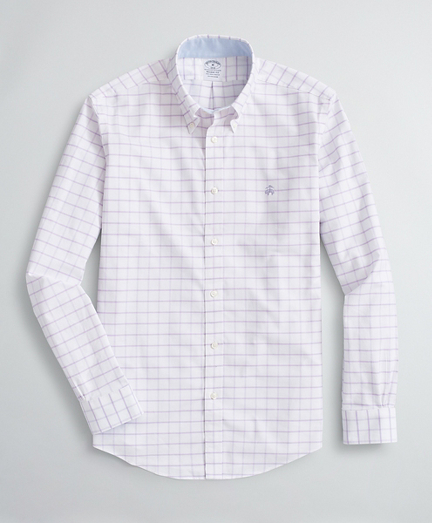 Brooksbrothers Stretch Regent Fit Sport Shirt, Non-Iron Windowpane Oxford