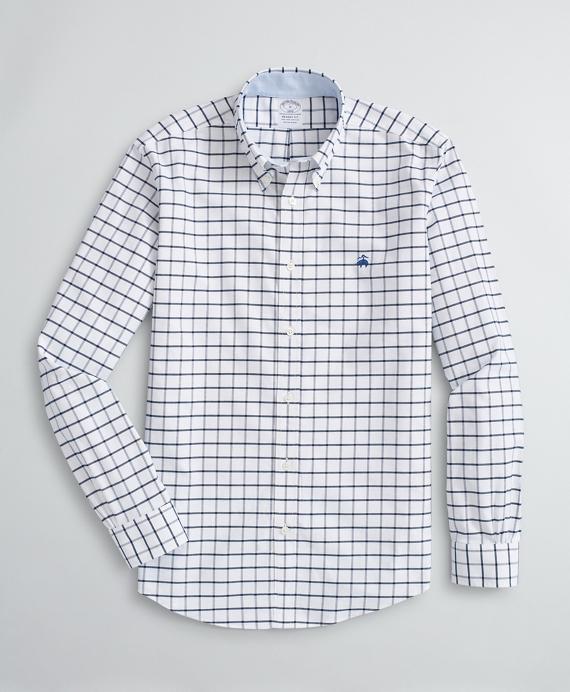 Stretch Sport Shirt, Non-Iron Windowpane Oxford