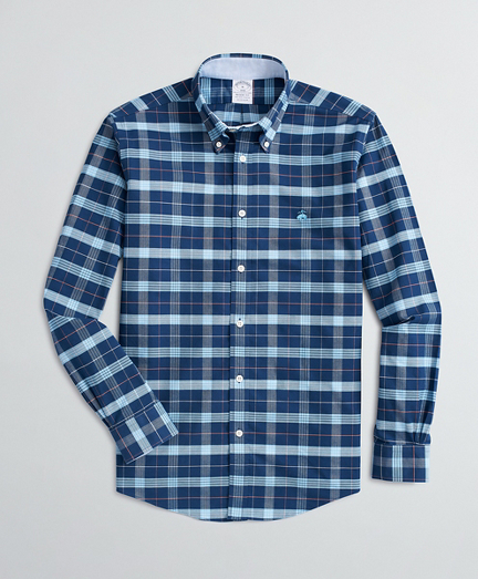 Stretch Regent Fit Sport Shirt, Non-Iron Plaid Oxford