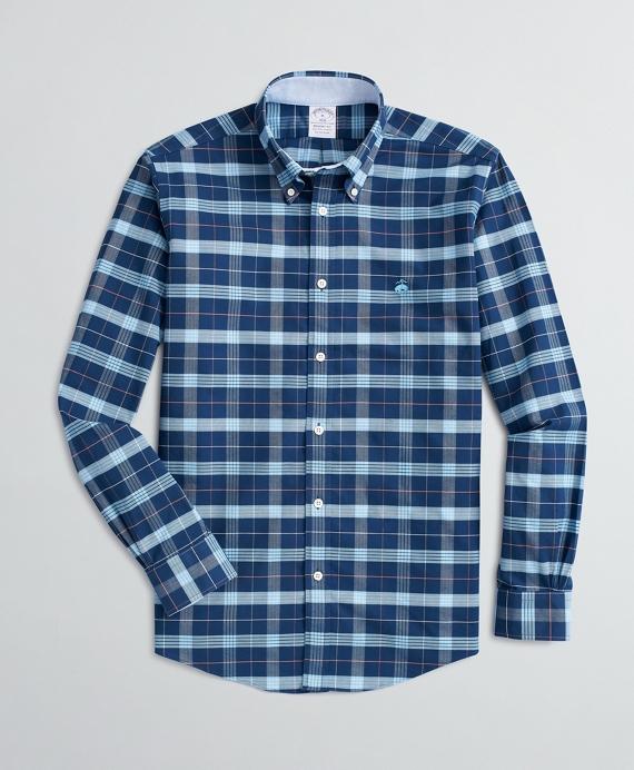Stretch Regent Fit Sport Shirt, Non-Iron Plaid Oxford Blue