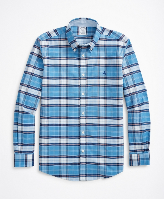 Stretch Regent Regular-Fit Sport Shirt, Non-Iron Glen Plaid Oxford Blue