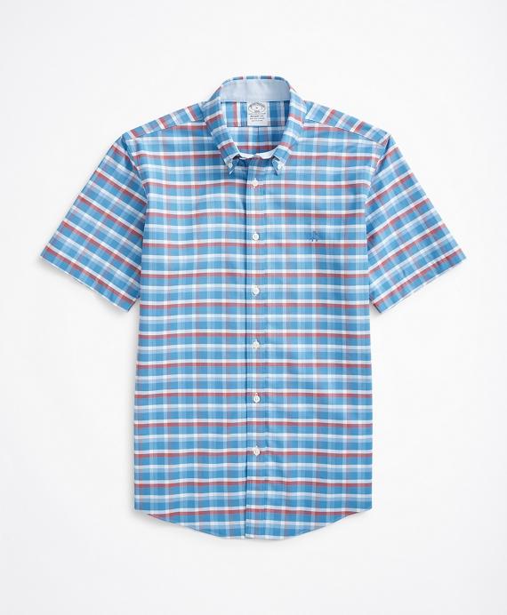 Stretch Regent Regular-Fit Short-Sleeve Sport Shirt, Non-Iron Checked Oxford Blue