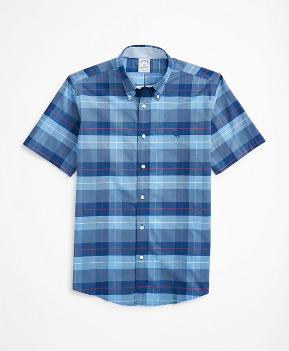 Stretch Regent Regular-Fit Short-Sleeve Sport Shirt, Non-Iron Plaid Oxford Blue