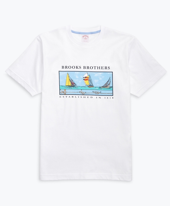 Boat-Print Cotton Jersey T-Shirt White