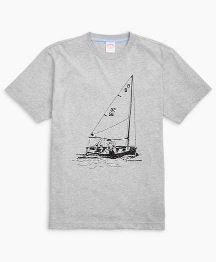 Sailboat-Print Cotton Jersey T-Shirt