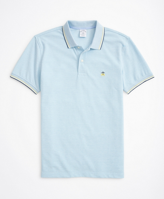Slim-Fit Striped-Trim Performance Polo Shirt Blue