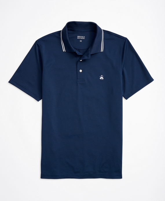 Striped-Trim Performance Series Polo Shirt Navy