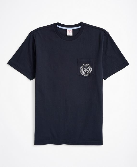 Crest-Graphic Pocket T-Shirt Navy