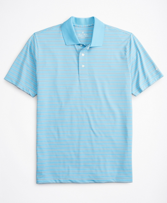 Performance Series Textured Bar Stripe Polo Shirt Blue