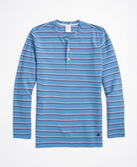 Striped Cotton Pique Henley Blue