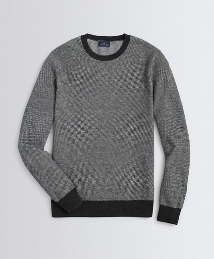 Wool-Cotton Birdseye Crewneck Sweater