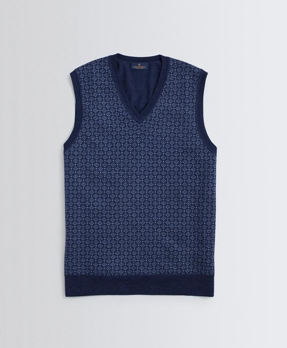 Geo-Patterned Merino Wool Sweater Vest Blue