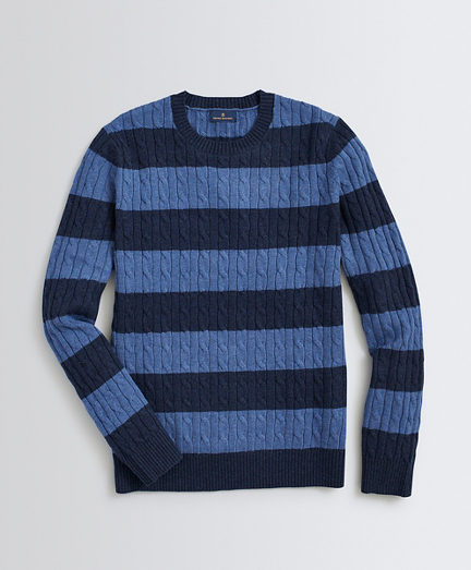 Striped Wool-Cotton Sweater