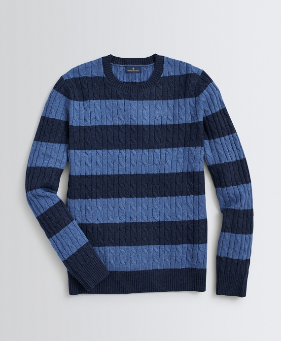 Striped Wool-Cotton Sweater Navy
