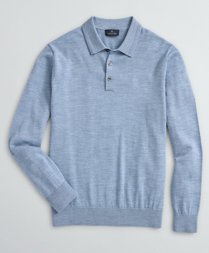 Brooks Brothers Washable Merino Wool Long-Sleeve Polo Sweater