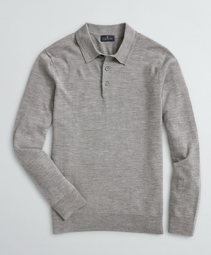 Washable Merino Wool Long-Sleeve Polo Sweater
