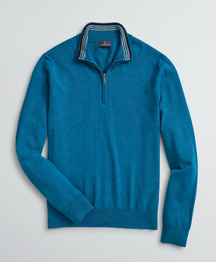 Washable Merino Wool Half-Zip Sweater