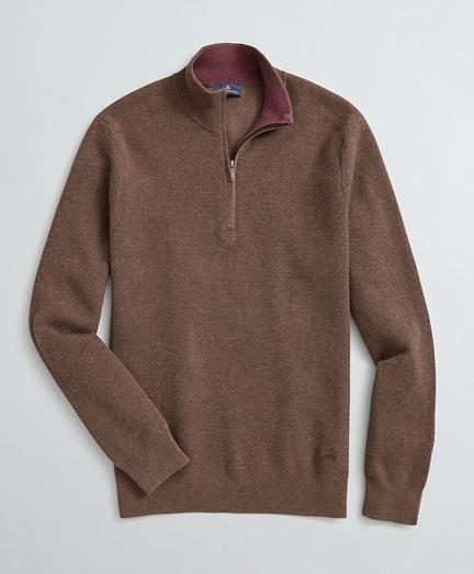 Honeycomb-Knit Cotton-Cashmere Half-Zip
