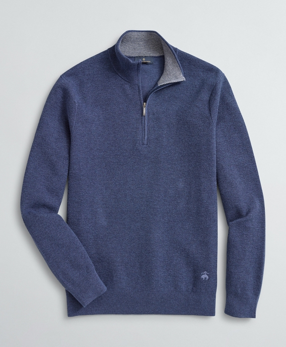 Honeycomb-Knit Cotton-Cashmere Half-Zip Medium Blue