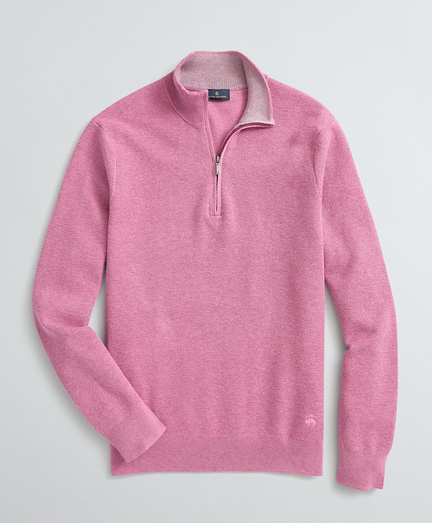 Honeycomb-Knit Cotton-Cashmere Half-Zip