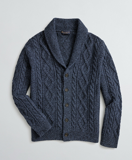 Aran-Knit Merino Wool-Blend Shawl-Collar Cardigan