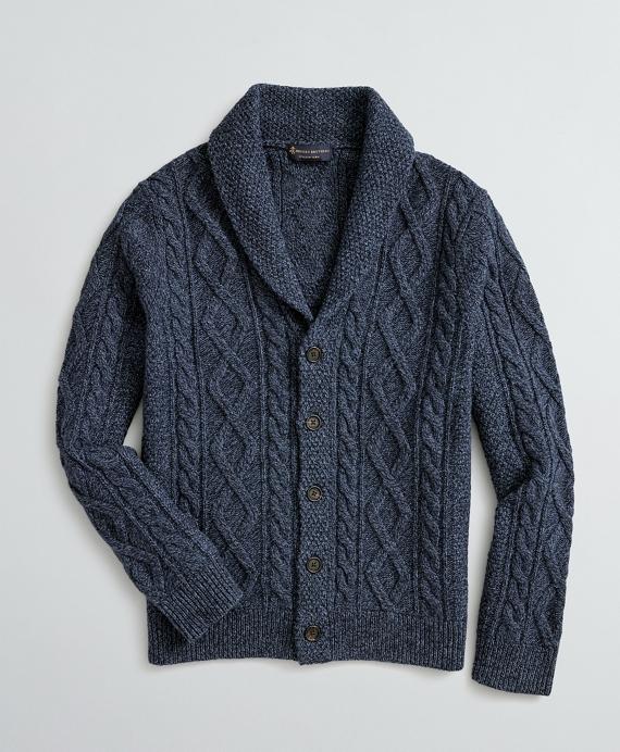 Aran-Knit Merino Wool-Blend Shawl-Collar Cardigan Navy