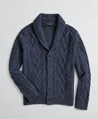 Aran-Knit Merino Wool-Blend Shawl-Collar Cardigan