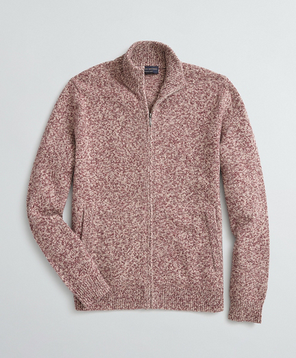 Marled Stretch Merino Wool-Blend Zip Cardigan
