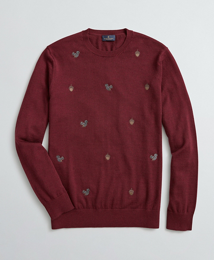 Squirrel-Embroidered Merino Wool Sweater