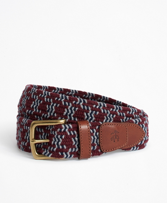 BB#1 Stripe and Dot Stretch Belt Burgundy