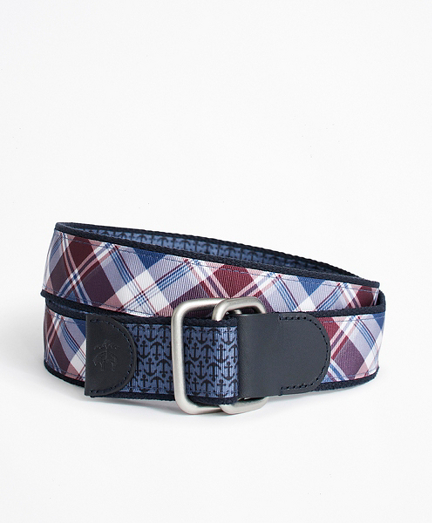 Plaid and Solid Reversible Stretch Belt