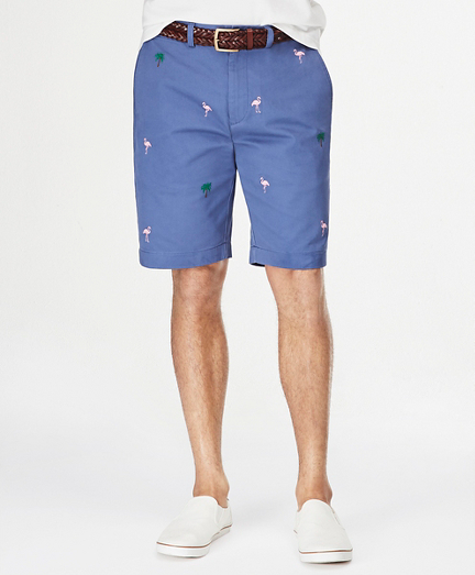 "Embroidered Washed Chino 10"" Bermuda Shorts"