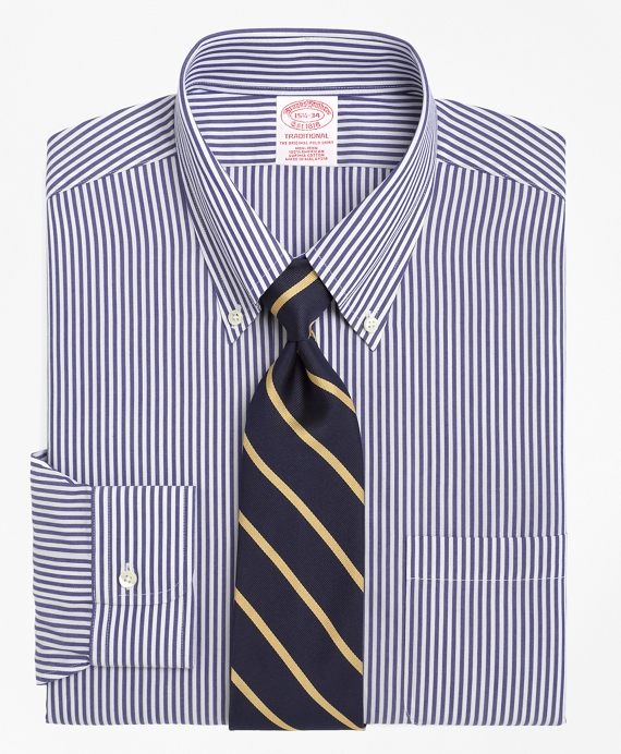 Traditional Extra-Relaxed-Fit Dress Shirt, Non-Iron Bengal Stripe Blue-White