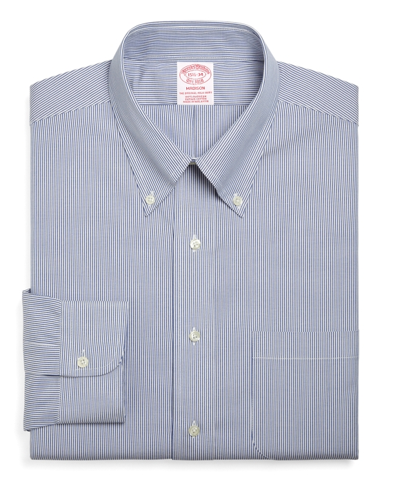 Madison Relaxed-Fit Dress Shirt, Stripe Blue
