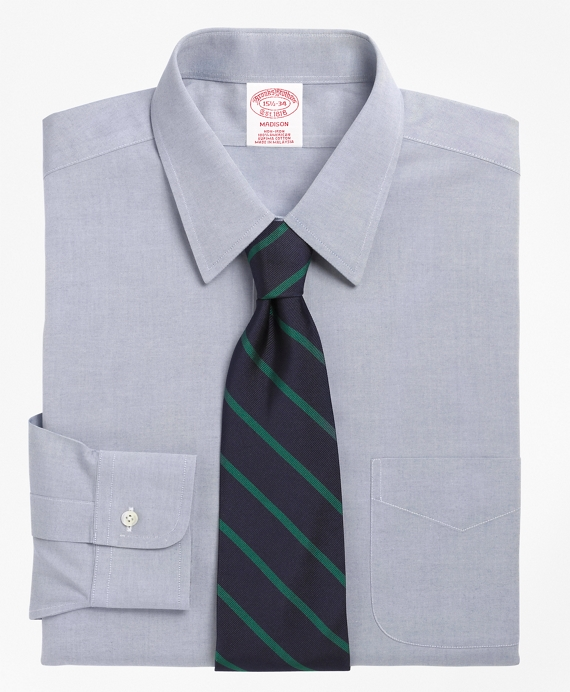 Madison Relaxed-Fit Dress Shirt, Non-Iron Point Collar Blue