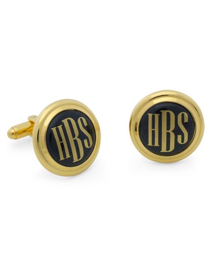 Gold and Black  Hand Painted Enamel Cuff Links