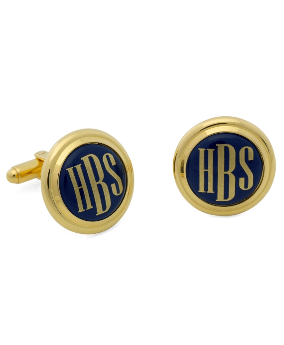 Gold and Blue Hand Painted Enamel Cuff Links Gold Blue