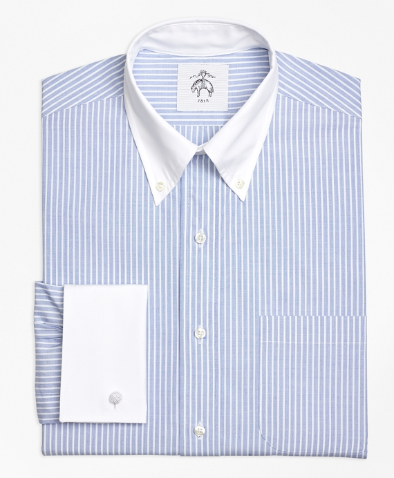 Wide Stripe French Cuff Shirt Blue